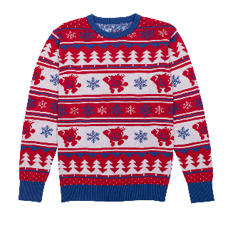 Kool-Aid brand retro holiday sweater with snowflake, tree and Kool-Aid man pattern.