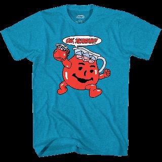 Kool-Aid brand teal t-shirt with Oh, yeaahh! and Kool-Aid man.