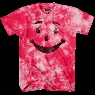 Kool-Aid brand pink tie dye t-shirt with Kool-Aid man smiley face.